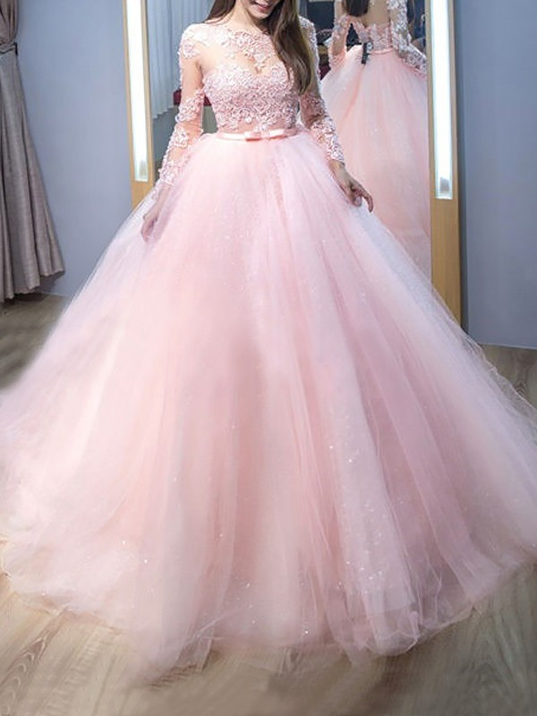 Ball Gown Jewel Long Sleeves Sweep/Brush Train With Lace Tulle Dresses