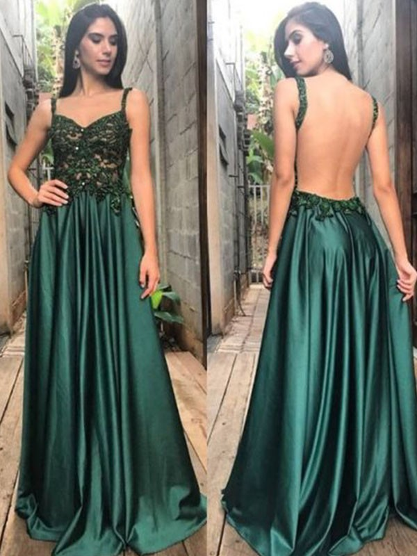 877fd3168d9 A-Line Straps Sleeveless Floor-Length With Applique With Ruched Satin  Dresses