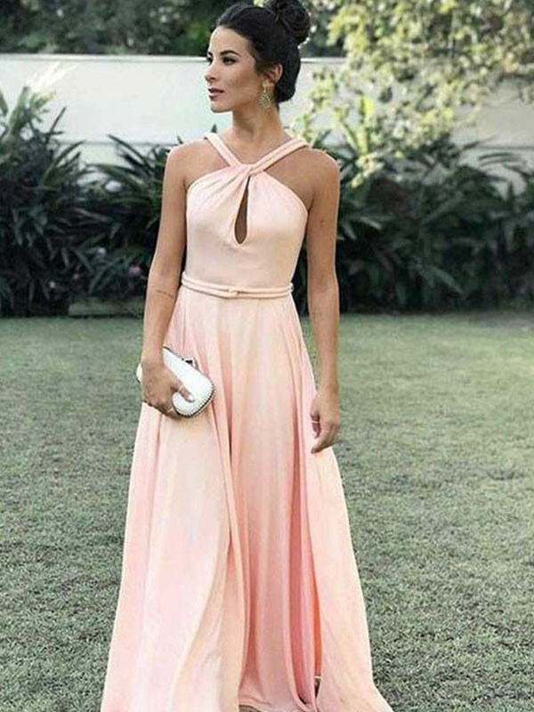 A-Line Halter Sleeveless Floor-Length With Ruched Chiffon Dresses