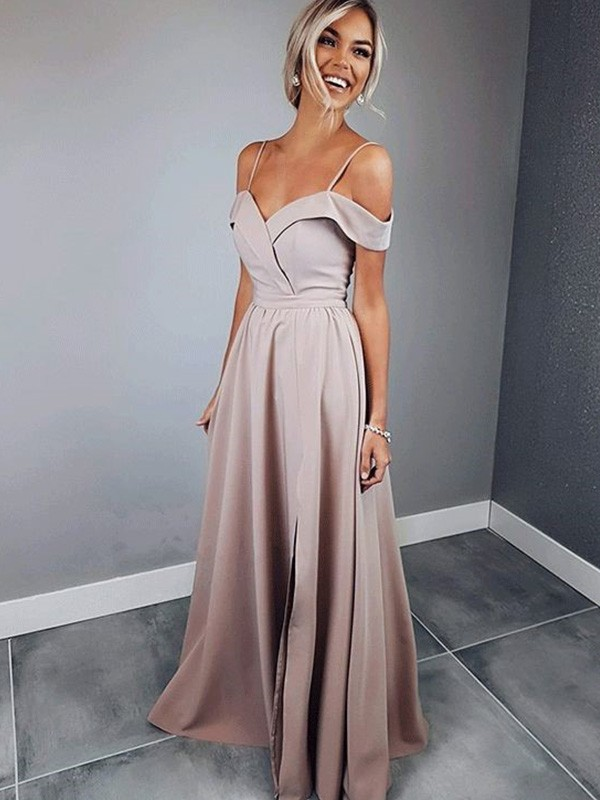 A-Line Spaghetti Straps Short Sleeves Floor-Length With Ruched Satin Dresses