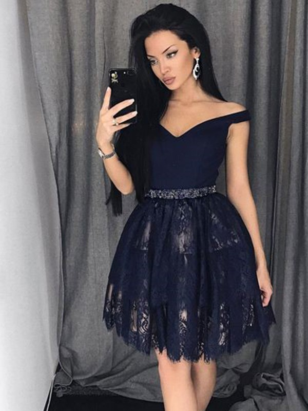 A-Line Sleeveless Satin Lace Off-the-Shoulder With Beading Short/Mini Dresses