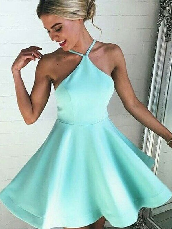 A-Line Satin Halter Sleeveless With Pleated Short/Mini Dresses