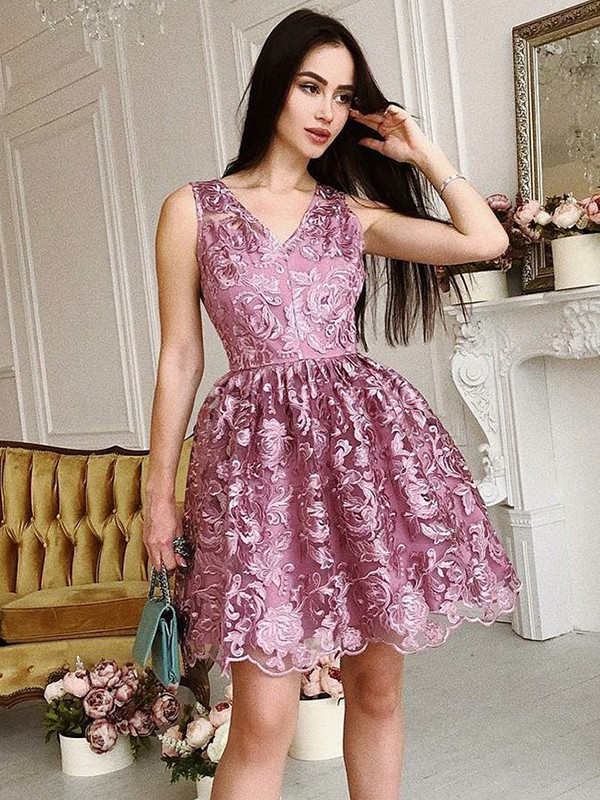 A-Line V-Neck Sleeveless Organza With Ruched Short/Mini Dresses
