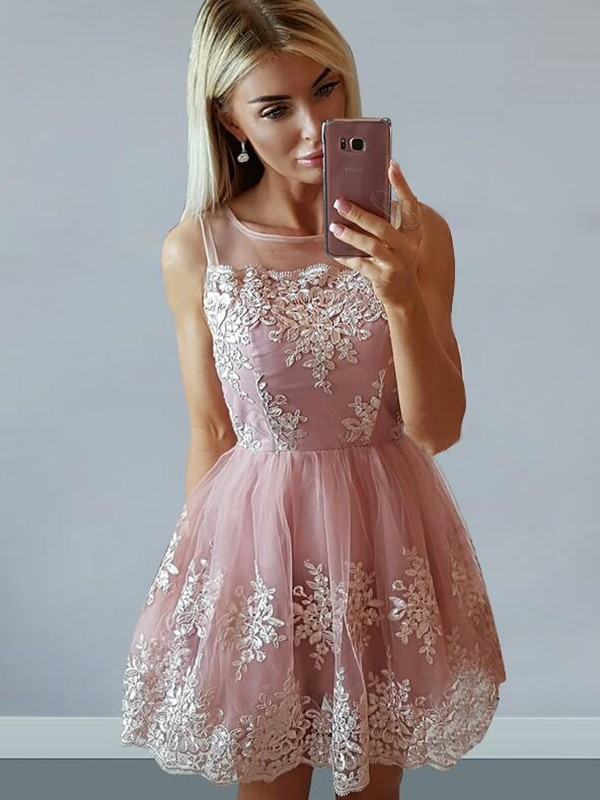 A-Line Tulle Sleeveless Scoop With Applique Short/Mini Dresses