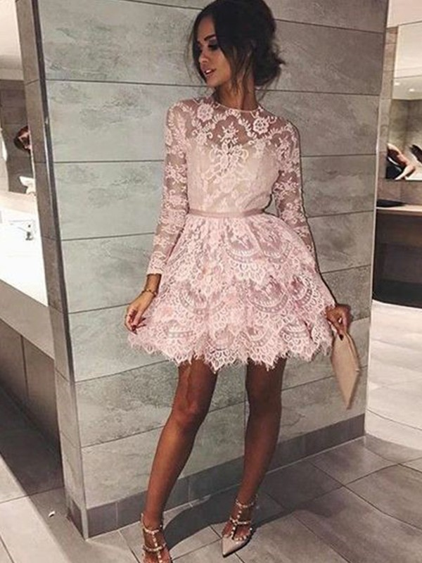 A-Line Bateau Long Sleeves With Beading Lace Short/Mini Dresses