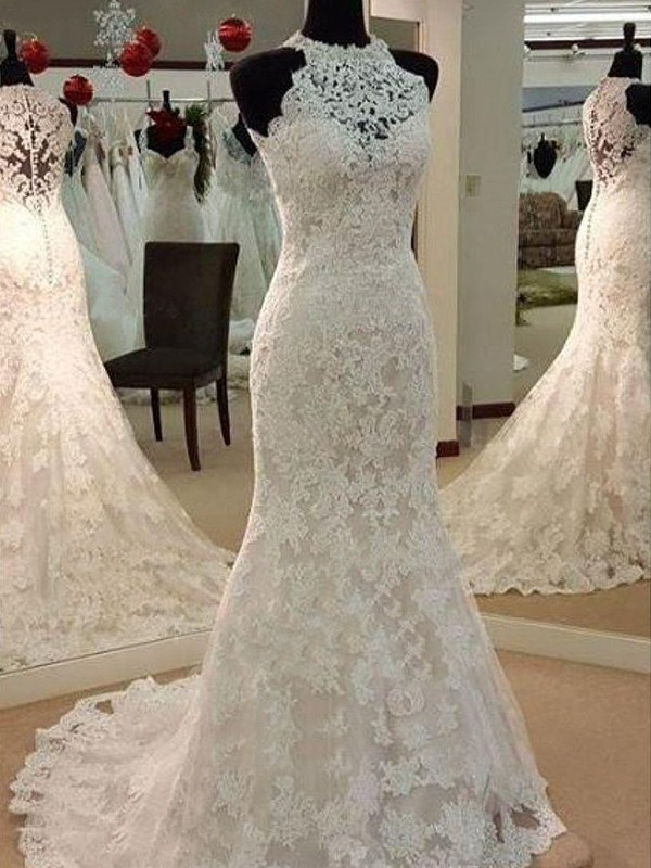 Sheath Sleeveless Scoop Sweep/Brush Train With Applique Lace Wedding Dresses