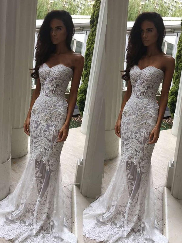 Mermaid Sweetheart Court Train With Applique Sleeveless Lace Wedding Dresses