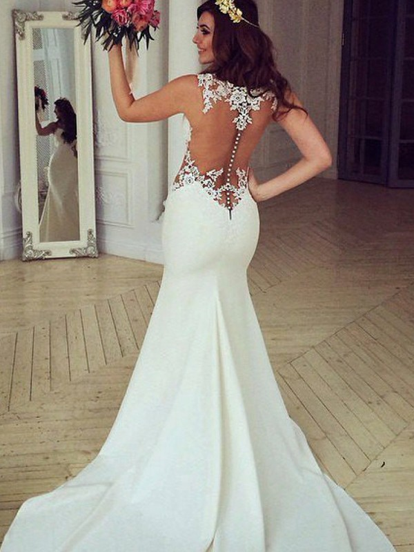 Mermaid Scoop Sleeveless Sweep/Brush Train With Applique Lace Wedding Dresses