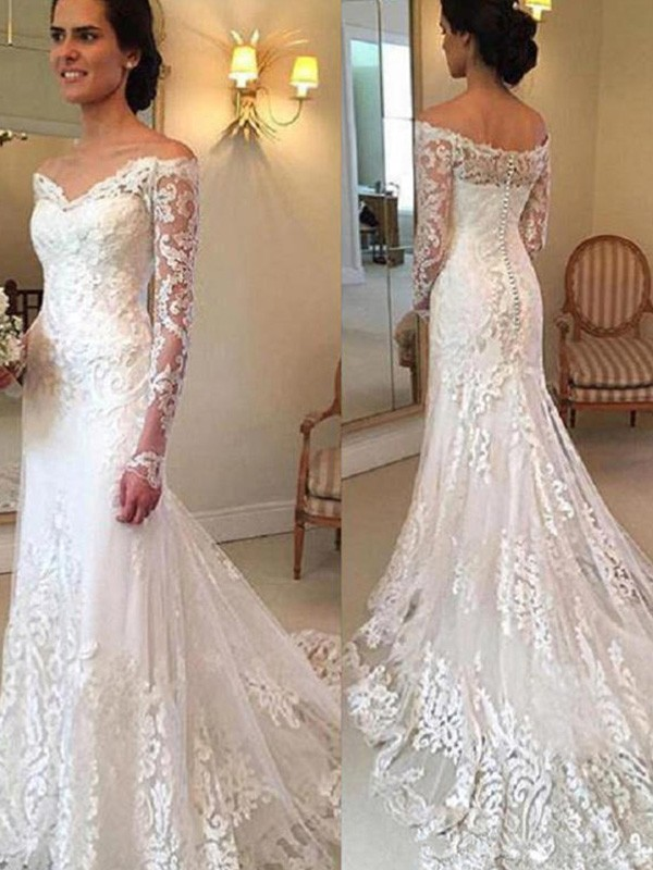 be0b886d03ee Mermaid Off-the-Shoulder Court Train Long Sleeves With Applique Lace  Wedding Dresses