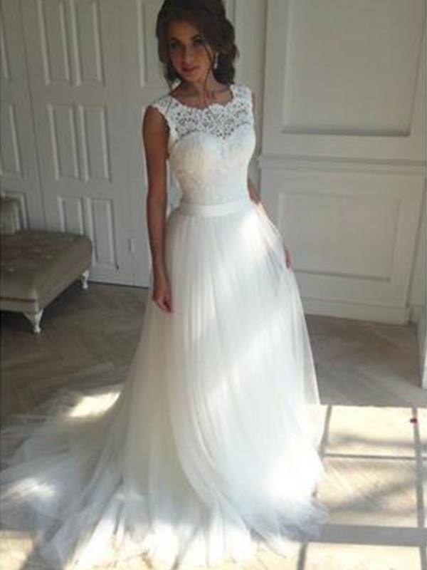 A-Line Sleeveless Square Court Train Tulle Wedding Dresses