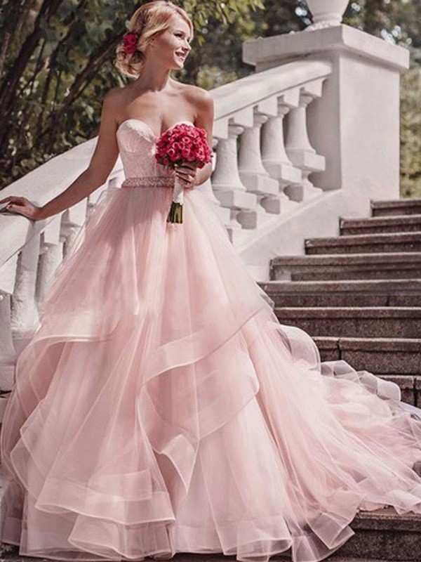 Ball Gown Sweetheart Sleeveless Court Train With Layers Organza Wedding Dresses
