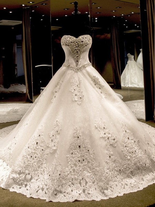 6accf7c41249 Ball Gown Sleeveless Sweetheart Cathedral Train With Applique Sequin Tulle Wedding  Dresses