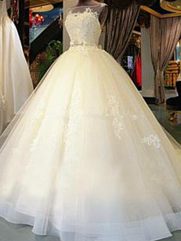 b7fc4c544df8 Ball Gown Scoop Cathedral Train Sleeveless With Sash/Ribbon/Belt With  Applique Tulle Wedding