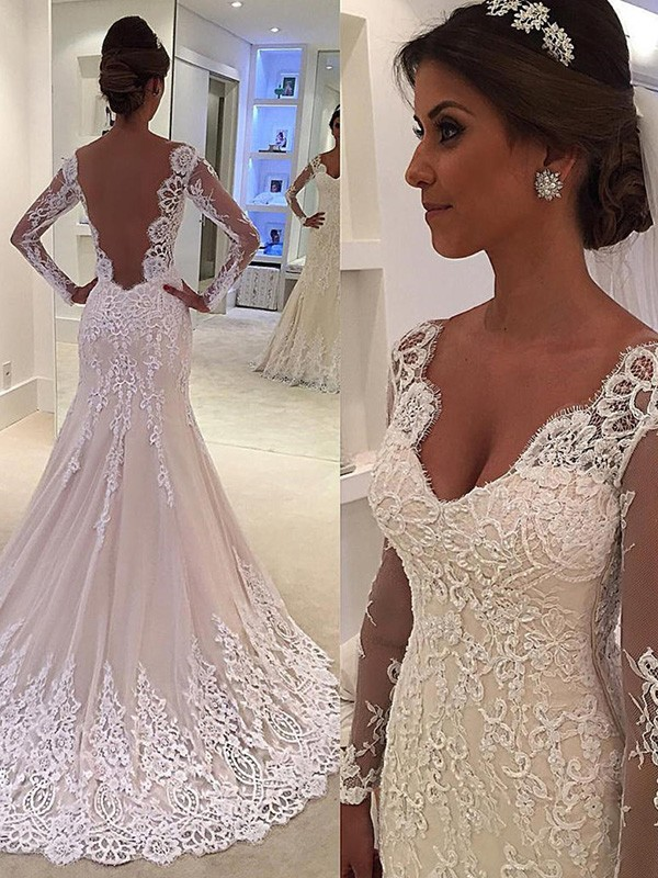 Mermaid Long Sleeves V-neck Court Train Lace Wedding Dresses