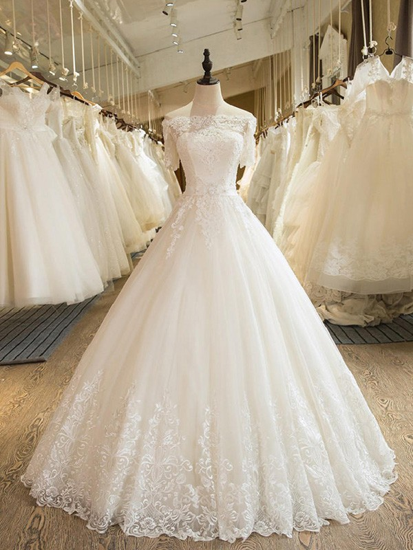 Ball Gown 1/2 Sleeves Off-the-Shoulder Floor-Length With Applique Lace Tulle Wedding Dresses