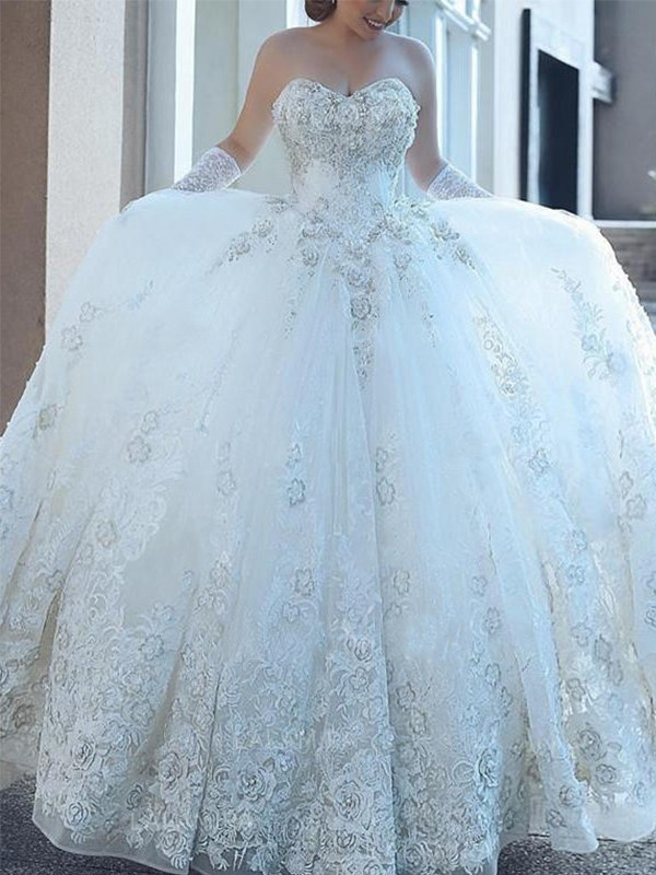Ball Gown Sweetheart With Applique Tulle Sleeveless Cathedral Train Wedding Dresses