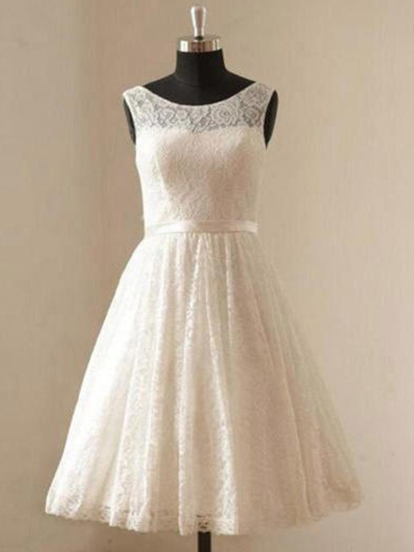 A-Line Scoop Lace Sleeveless With Sash/Ribbon/Belt Knee-Length Wedding Dresses