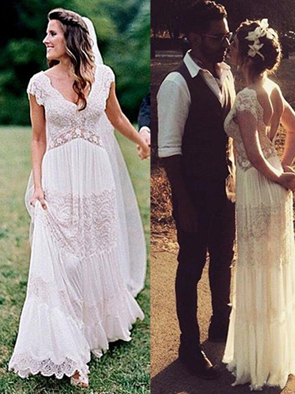 A-Line Lace V-neck With Ruched Short Sleeves Floor-Length Wedding Dresses