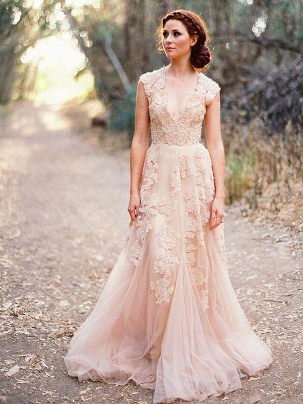 A-Line With Applique Tulle V-neck Sleeveless Sweep/Brush Train Wedding Dresses