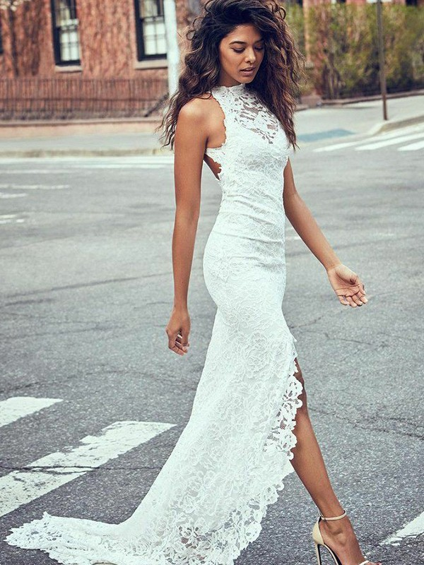 Mermaid Lace Halter Sleeveless Sweep/Brush Train Wedding Dresses