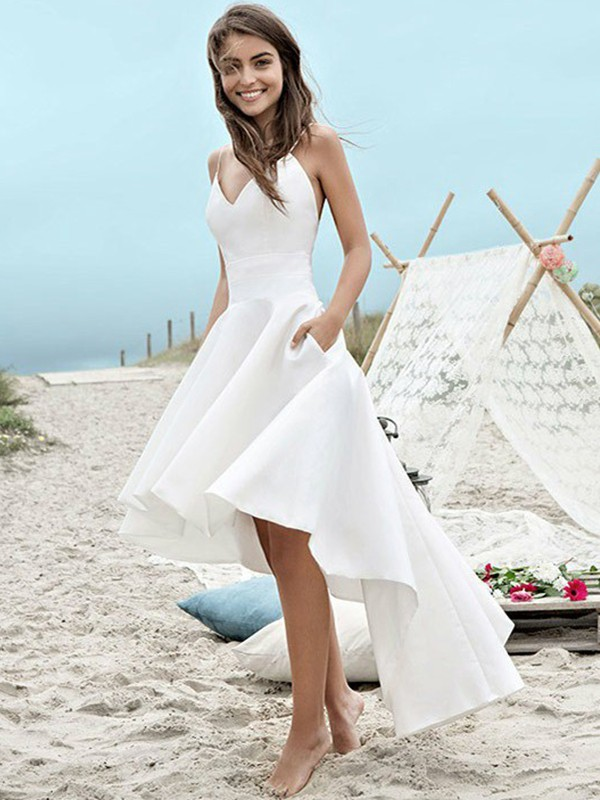 A-Line Satin With Ruched Sleeveless Spaghetti Straps Asymmetrical Wedding Dresses