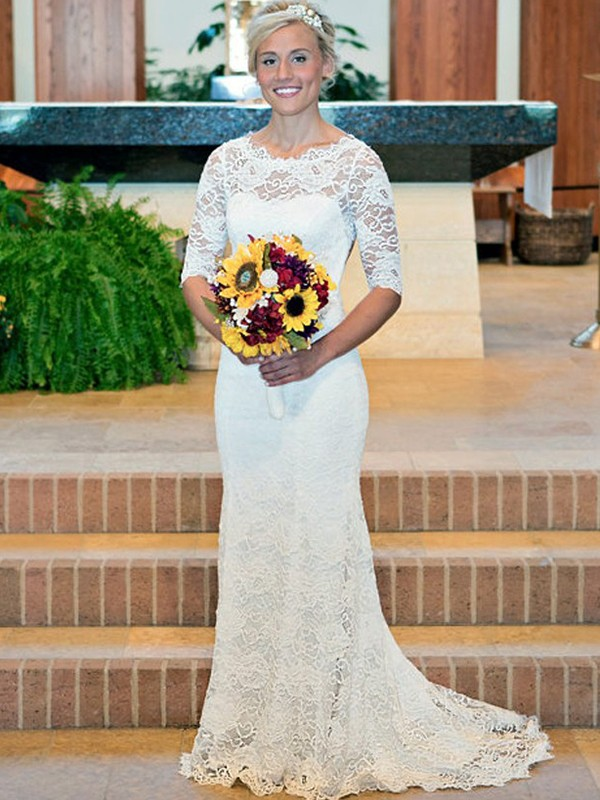 Sheath Lace With Ruched Scoop 1/2 Sleeves Sweep/Brush Train Wedding Dresses