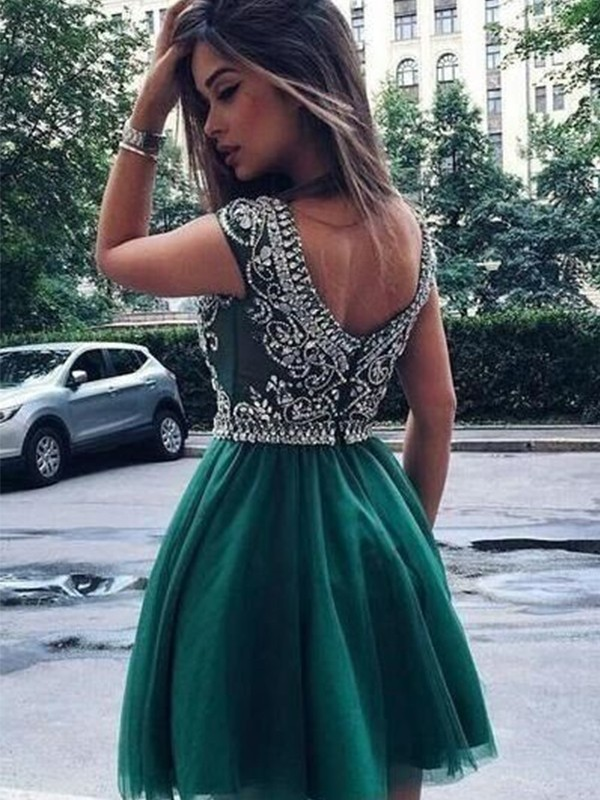 A-Line Sleeveless Scoop Tulle With Beading Short/Mini Dresses