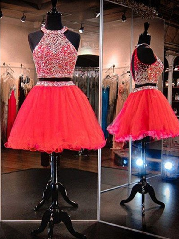 A-Line Sleeveless Halter Tulle With Beading Short/Mini Two Piece Dresses