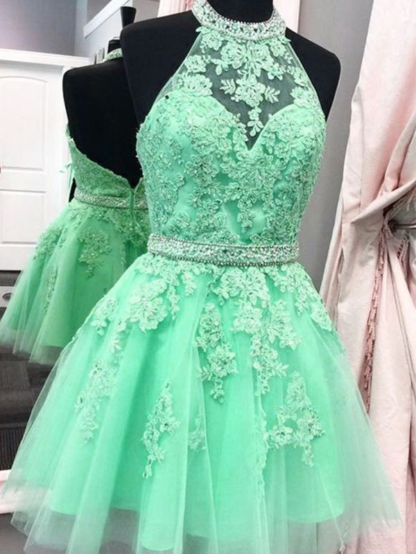 A-Line Sleeveless Halter Tulle With Applique Short/Mini Dresses