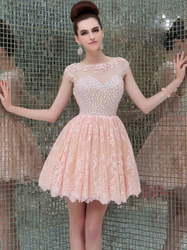 A-Line Sleeveless Scoop Lace With Beading Short/Mini Dresses