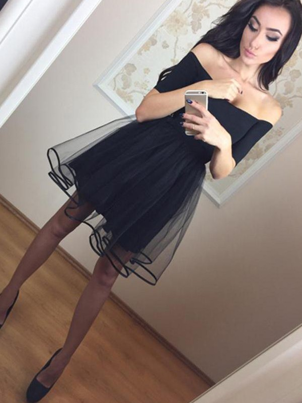 A-Line 1/2 Sleeves Off-the-Shoulder Tulle Short/Mini Dresses