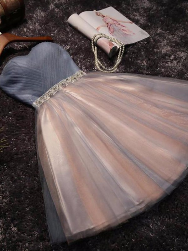 A-Line Sleeveless Sweetheart Tulle With Beading Short/Mini Dresses