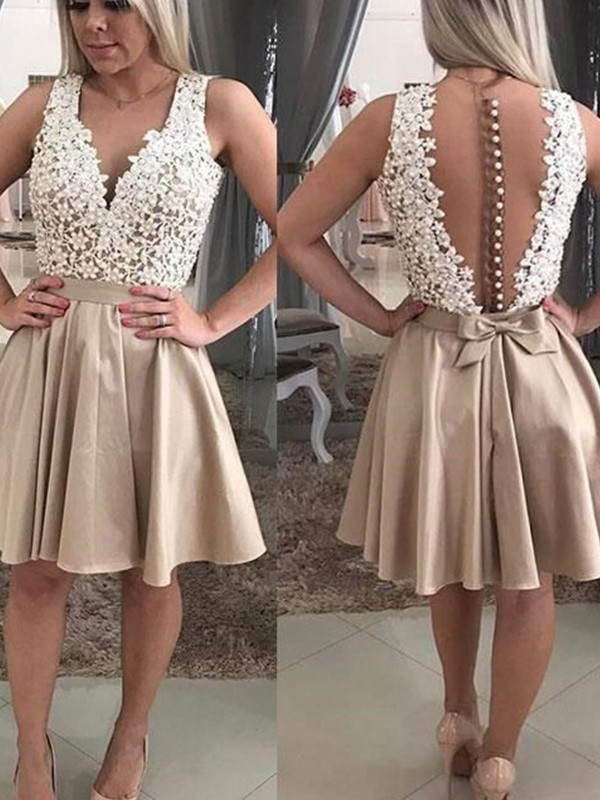 A-Line Sleeveless With Beading V-neck Satin Short/Mini Dresses