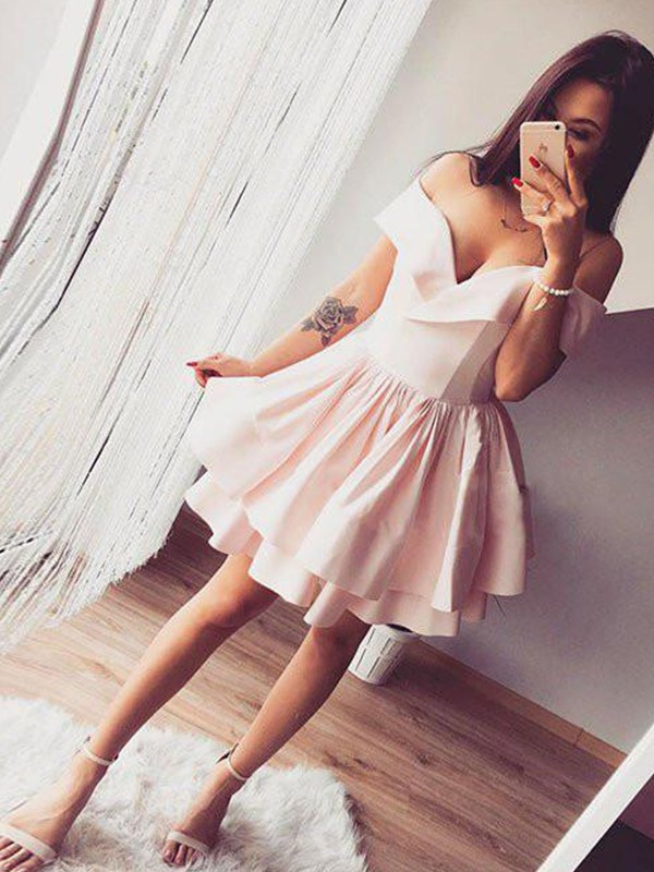 A-Line Sleeveless Off-the-Shoulder Satin Knee-Length Dresses