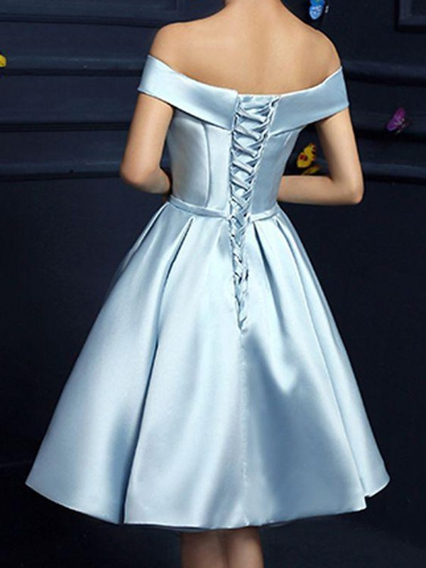 A-Line Satin Off-the-Shoulder With Bowknot Sleeveless Knee-Length Dresses