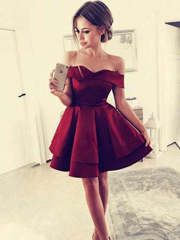 A-Line With Ruffles Satin Off-the-Shoulder Sleeveless Short/Mini Dresses