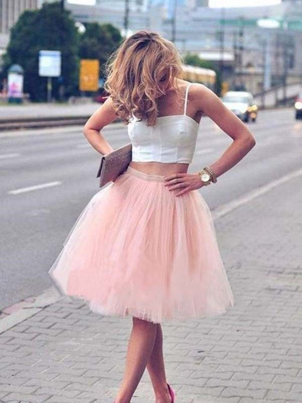 A-Line Tulle Sleeveless With Pleats Spaghetti Straps Knee-Length Two Piece Dresses