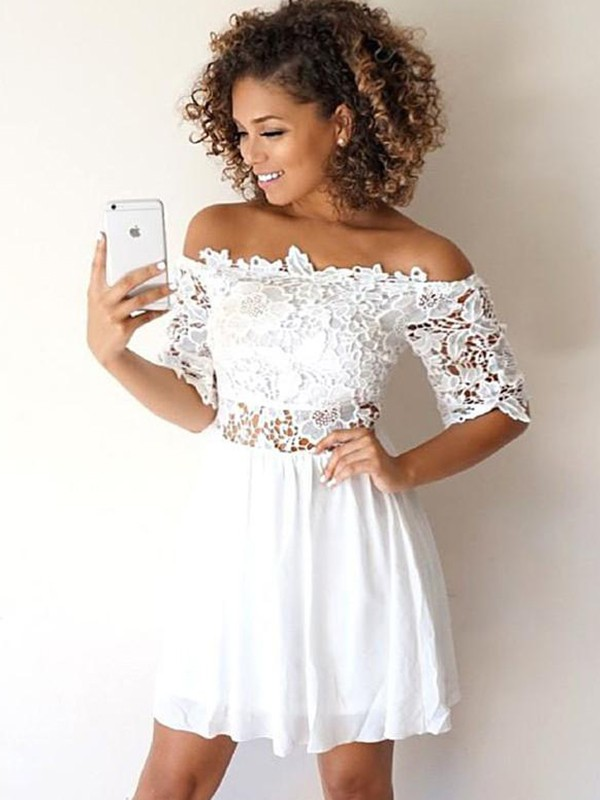 A-Line Chiffon With Applique Off-the-Shoulder 1/2 Sleeves Short/Mini Dresses