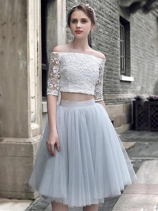 A-Line Tulle With Ruched Off-the-Shoulder 1/2 Sleeves Knee-Length Two Piece Dresses