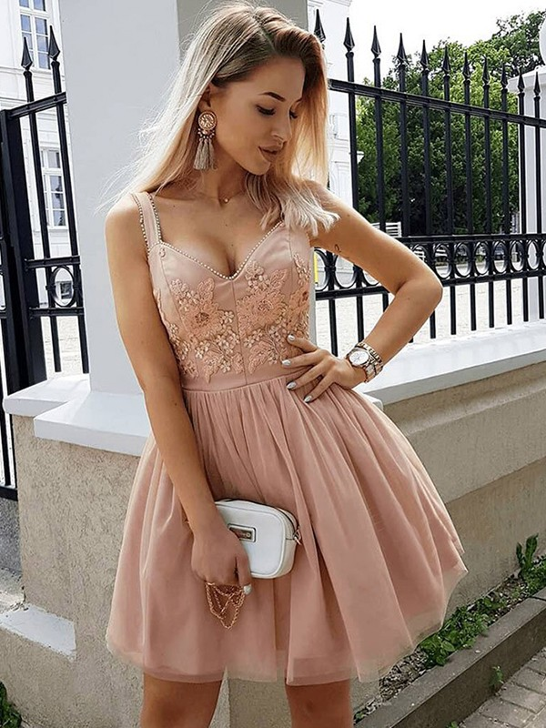 A-Line Sleeveless Straps Tulle With Beading Short/Mini Dresses