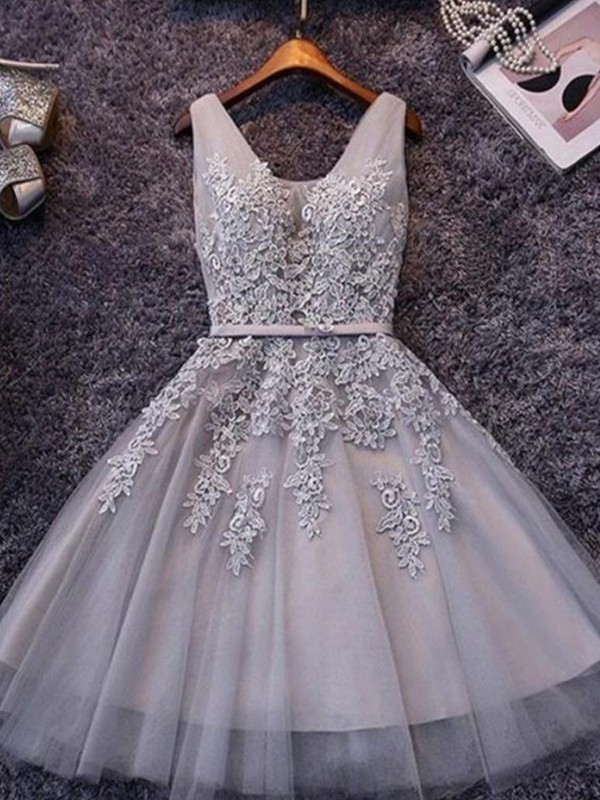 A-Line Sleeveless Straps Tulle With Applique Short/Mini Dresses