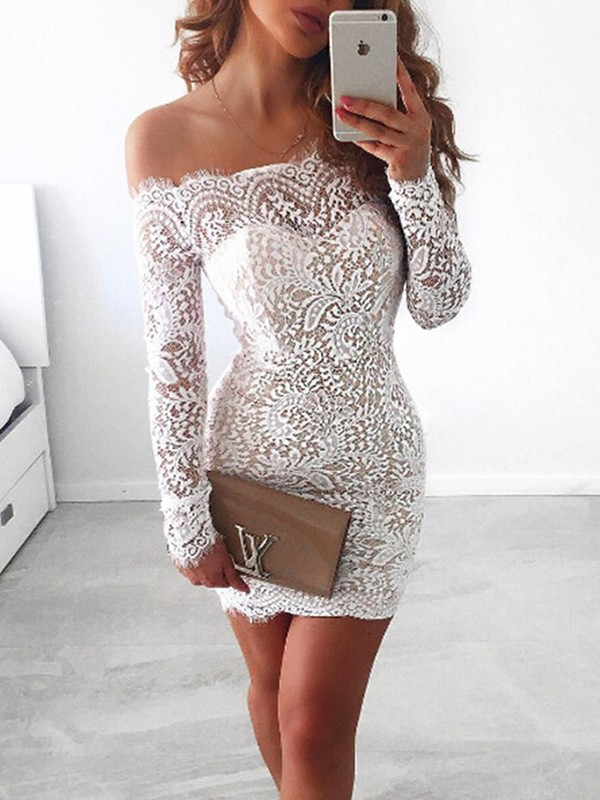 Sheath Long Sleeves Off-the-Shoulder Lace Short/Mini Dresses