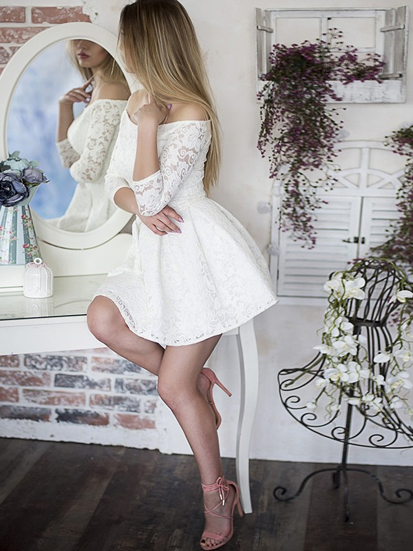 A-Line With Ruffles Off-the-Shoulder Lace 3/4 Sleeves Short/Mini Dresses
