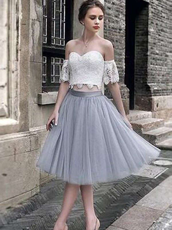 A-Line Lace Sweetheart Tulle Sleeveless Tea-Length Two Piece Dresses