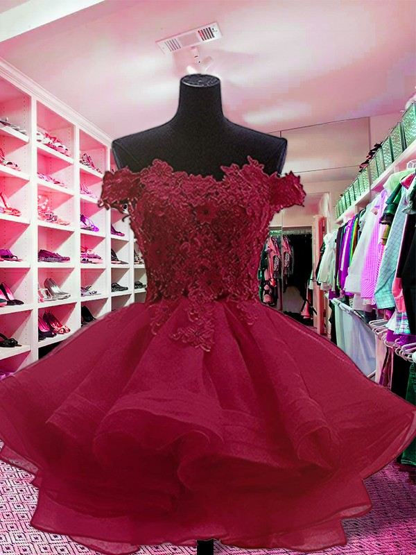 Ball Gown Off-the-Shoulder Sleeveless Short/Mini With Applique Organza Dresses