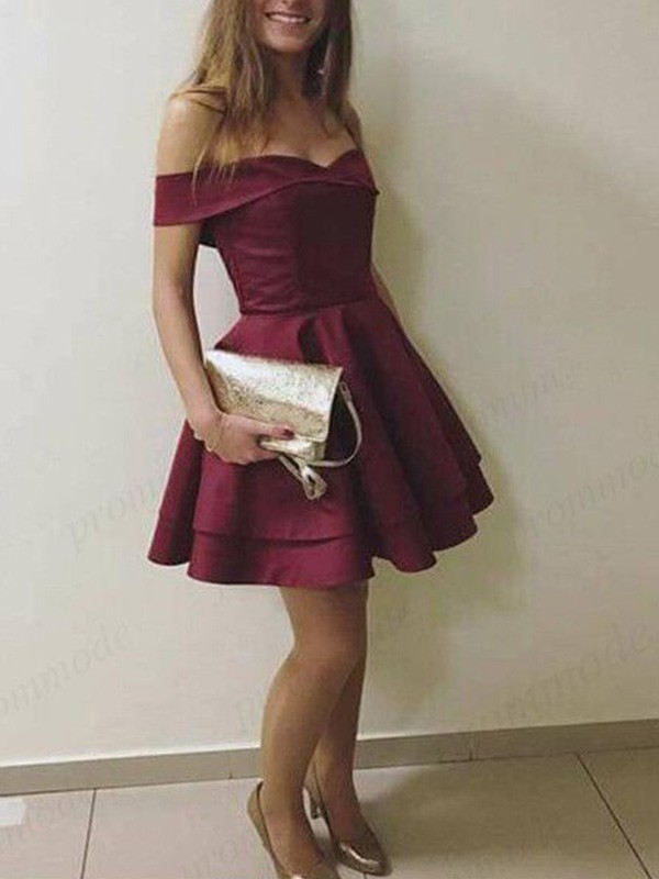 A-Line Sleeveless Off-the-Shoulder Satin With Layers Short/Mini Dresses