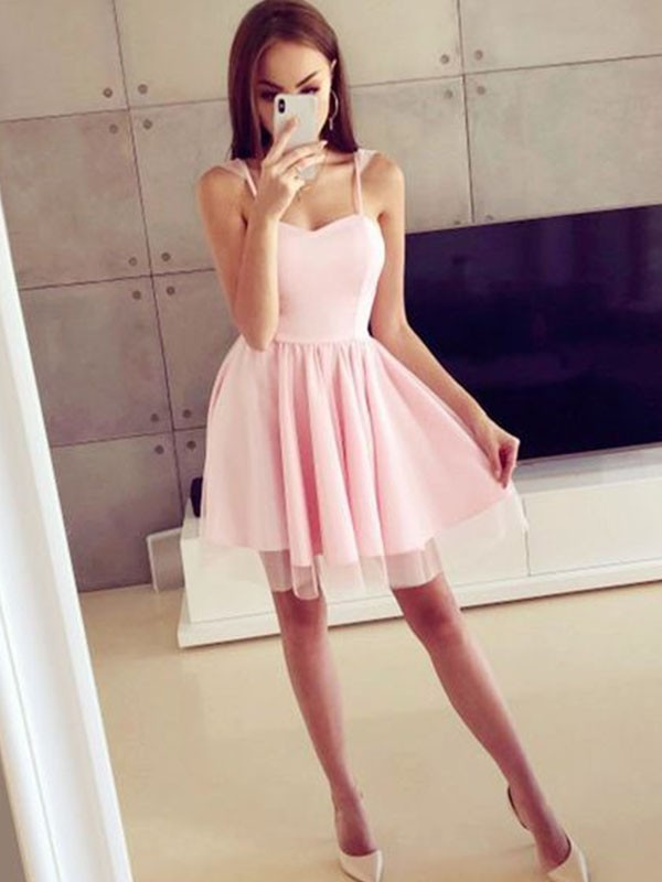 A-Line Satin Spaghetti Straps With Ruched Sleeveless Short/Mini Dresses