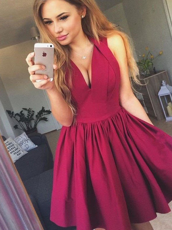 A-Line V-neck Satin With Ruched Sleeveless Short/Mini Dresses