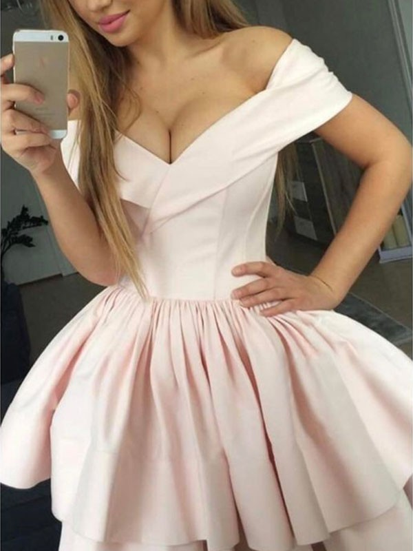 A-Line Satin Sleeveless With Ruched Off-the-Shoulder Short/Mini Dresses