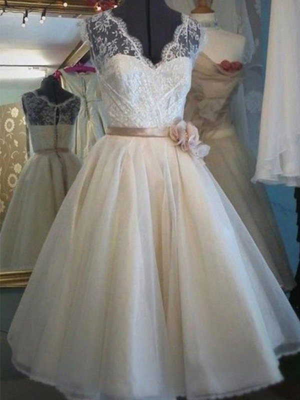A-Line V-neck Knee-Length Lace Sleeveless With Sash/Ribbon/Belt Tulle Wedding Dresses